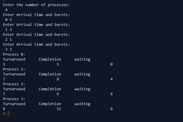 FCFS program in Java